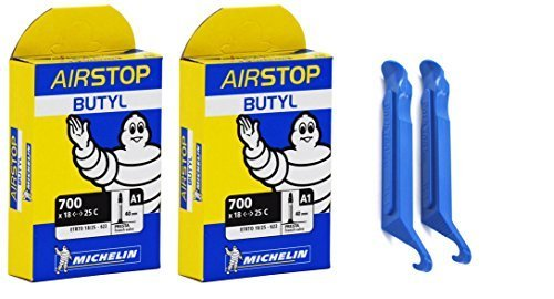 Michelin Airstop Butyl Tube - Michelin A1 Airstop Presta Valve 700x18/25c 40mm Bicycle Tube Bundle (2 TUBES & 2 PARK TIRE LEVERS)