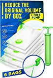 Vacuum Storage Bags 6 Pack (2 x Medium, 2 x Large, 2 x Jumbo) with Hand Pump - Space Saver Clothes Storage Bags for Home - Clothes, Comforters & Travel - Suitcases, Luggage