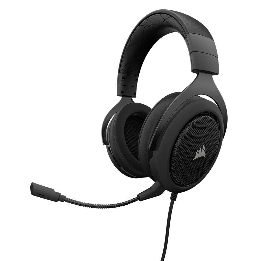 Corsair HS50 Gaming Headset / Stereo Kopfhö rer (mit abnehmbaren Mikrofon, fü r PC/PS4/Xbox One/Switch/Mobiltelefon) schwarz CA-9011170-EU