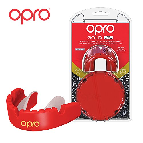 OPRO Gold Level Mouthguard for Braces for Ball, Combat and Stick Sports - 18 Month Dental Warranty (for Ages 7+) | Red