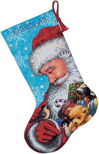 "DIMENSIONS Santa And Toys Stocking Needlepoint Kit-16"" Lo..."