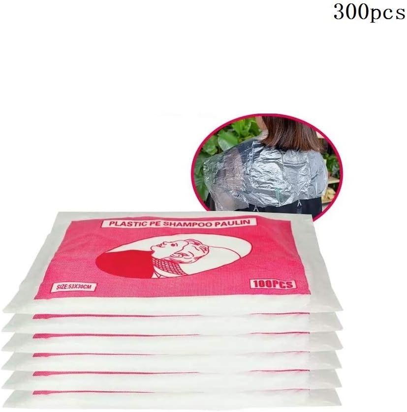 ALOP 300 Piezas de Capas de plástico, peluquería, Desechables, Impermeables, Capas de Corte de Cabello, peluquería para el hogar, peluquería, teñido de Delantal (53 * 40 cm)