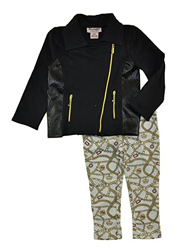 Juicy Couture Little Girls' Toddler Jacket with Pleather Accents and Printed Pant, Black, (Couture Leather Jackets)