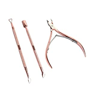Multibey Rose Gold Nail Cuticle Trimmer Nail Polish Exfoliating Remover Nails Care Cleansing Kits Manicure Set Art Tool