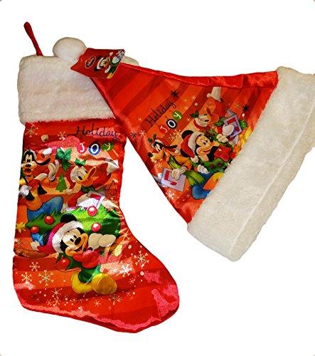 MICKEY MOUSE, PLUTO AND DONALD DUCK HOLIDAY JOY SATIN CHRISTMAS STOCKING AND SANTA HAT~NEW (Donald Duck Santa)