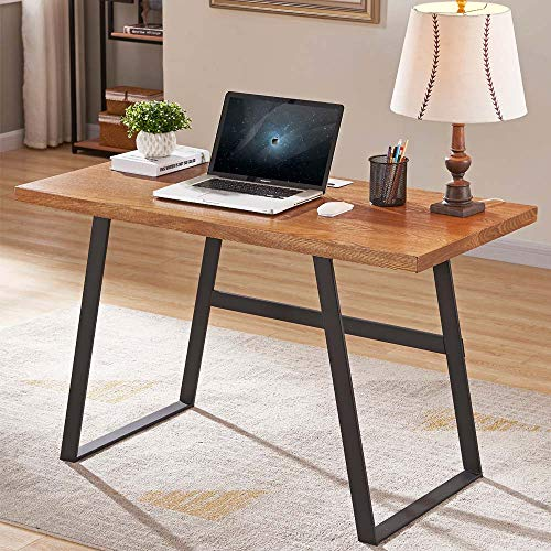 BON AUGURE Industrial Computer Desk for Home Office, Rustic Writing Desk, Vintage Study Table (47, Cherry)