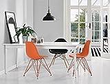 Novogratz Louise Mid Century Modern Molded Chair with Coloured Leg, Set of Two -  Orange