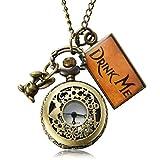 Uarter Vintage Drink Me Pocket Watch Necklace Quartz Watch Alice in Wonderland