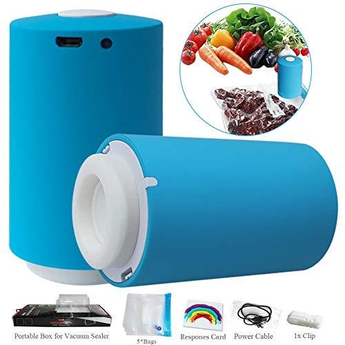 Vacuum Sealers Mini, Sous Vide Gadgets For Kitchen, Food Sealer Vacuum Cordless Handhold Electronic Hand Pump With 5 Reusable Sous Vide Bags BPA Free, Bag Sealing Clips