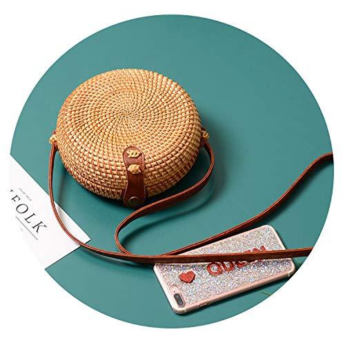 2019 Round Straw Bags Women Handbags Rattan Crossbody Bags Handmade Woven Beach Circular Bags,C-02
