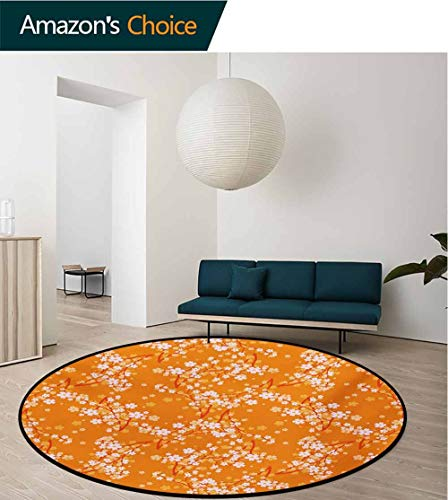 RUGSMAT Floral Machine Washable Round Bath Mat,Vivid Blooming Tree Branches Spring Flower Petals Happy Essence Beauty Pattern Non-Slip No-Shedding Bedroom Soft Floor Mat,Round-59 Inch