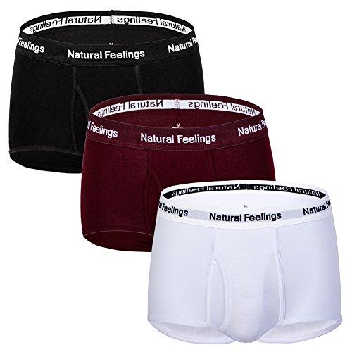 Mens Briefs Underwear Pack 3 Cotton Mens Underwear Briefs Black White Red with Pouch Fly