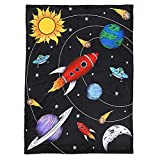 JAXSON'S WORLD Baby Blanket with Sherpa Backing - Outer Space Theme - by