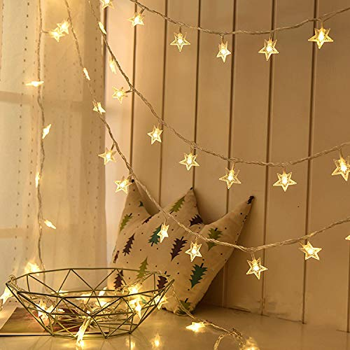 Stars String Lights, 33 Foot 100pcs LED Star Twinkle Fairy Lights Plug Operated Waterproof Indoor and Outdoor Decoration for Patio Wedding Bedroom Princess Castle Play Tents Decorations (Warm White) ()