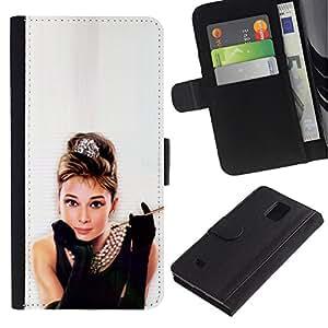 Paccase / Billetera de Cuero Caso del tirón Titular de la tarjeta Carcasa Funda para - Audrey Actress Classic Little Black Dress Sexy - Samsung Galaxy Note 4 SM-N910