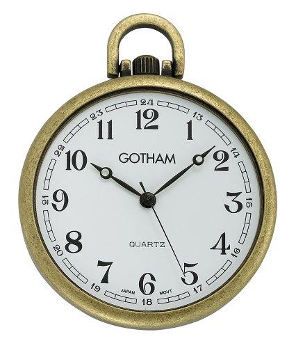 (Gotham Men's Antique Gold-Tone Ultra Thin Railroad Open Face Quartz Pocket Watch # GWC15028A)