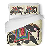 SanChic Duvet Cover Set India of Decorated Indian Elephant Rajasthan Ride Culture Asia Holy Decorative Bedding Set with 2 Pillow Shams Full/Queen Size