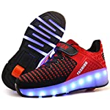Ufatansy LED Shoes USB Charging Flashing Sneakers Light Up Roller Shoes Skates Sneakers with Wheels for Kids Girls Boys(13 M US =CN31, Single Wheel, Red)