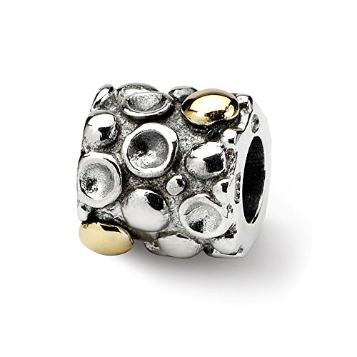 ICE CARATS 925 Sterling Silver 14k Charm for Bracelet Dots Bali Bead Fine Jewelry Gifts for Women for Her