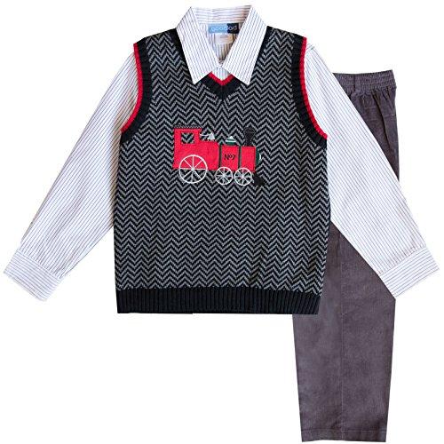 Good Lad 4/7 Boys Black Train Motiff Sweater Vest Set (Black Sweater Vest For Boys)