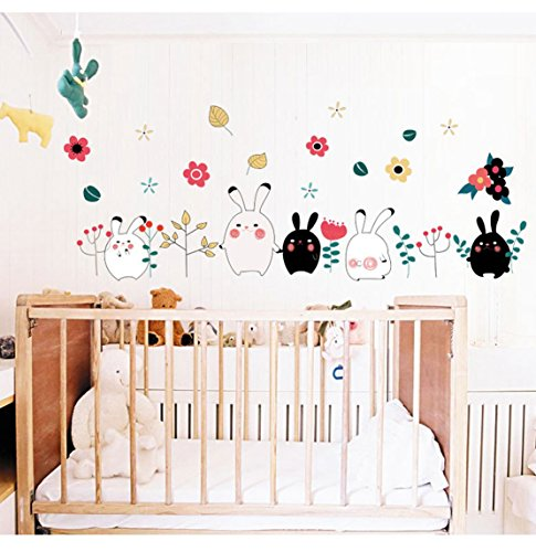 - 3D Self-adhesive Removable Cute Cartoon/Birds Play Football Vinyl Wall Sticker/Mural Art Decals Decorator for Kids Nursery Room (MJ8009 Cute Rabbits(23.6