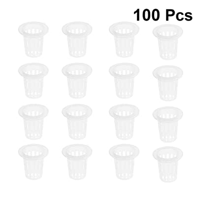 DOITOOL 100PCS Garden Net Cup Pots Plastic Hydroponics Net Pot Bucket Basket for Hydroponics Supplies (White,3.4x3.5x1.7cm): Garden & Outdoor
