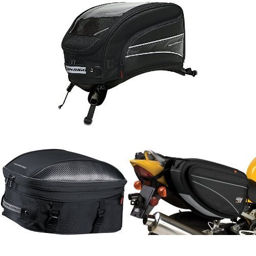 Nelson-Rigg CL-2016-ST Black X-Large Strap Mount Journey Tank Bag, CL-1060-ST Black Sport Touring Tail/Seat Pack, and CL-950 Black Deluxe Sport Touring Saddle Bag Bundle