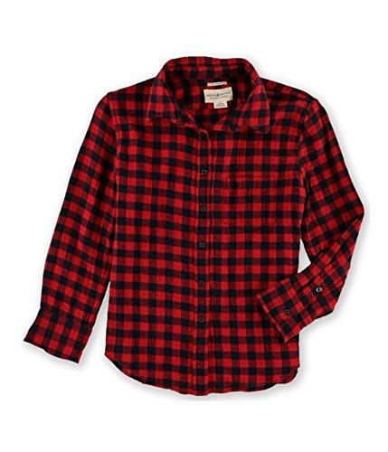 Denim & Supply Ralph Lauren Womens Juniors Plaid Cotton Button-Down Top Red S (Ralph Lauren Junior)