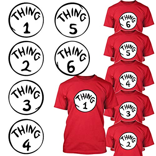 Calculs Thing 1-6 Iron On Heat Transfers Bundle Thing 1 and Thing 2 Shirts Costume Transfer Vinyls 6 Sheets 10 Inches Large -