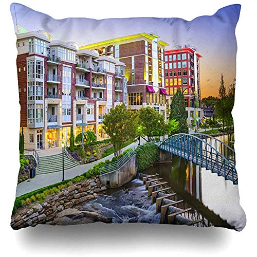 Throw Pillow Cover Square Pillowcase 18x18 Inch Falls Skyline Greenville South Carolina Town Cityscape Parks USA Downtown America City Dusk Design Zippered Cushion Pillow Case Home -