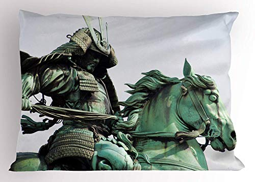 Ustcyla Sculptures Pillow Sham, Samurai Worrior Riding Horse Sculpture City Park in Tokyo History Travel, Decorative Standard Queen Size Printed Pillowcase, 30 X 20 inches, Mint Green Black