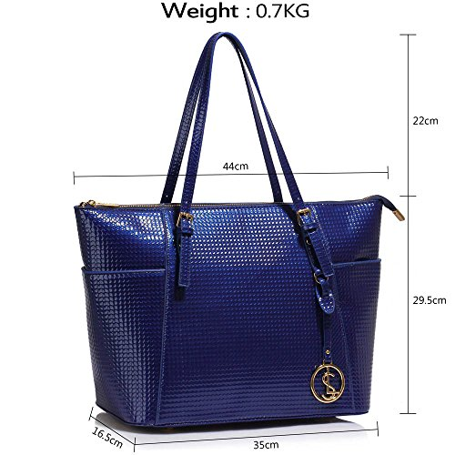 LEESUN LONDON - Bolsa mujer, color beige, talla L A - Navy