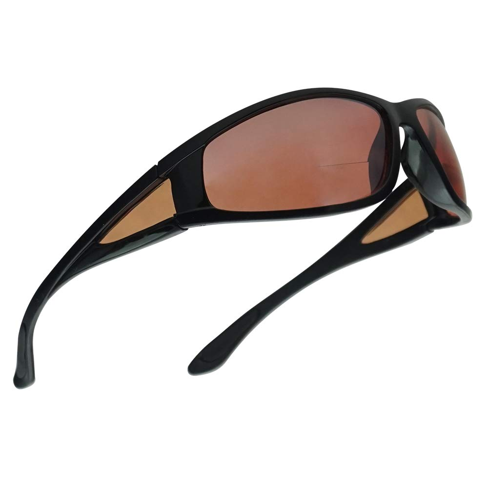 SunglassUP Bifocal Wrap Around Outdoor Reading Sunglasses with Daytime Anti-Glare Copper Polycarbonate Lens (Shiny Black, 2.00) by SunglassUP Readers