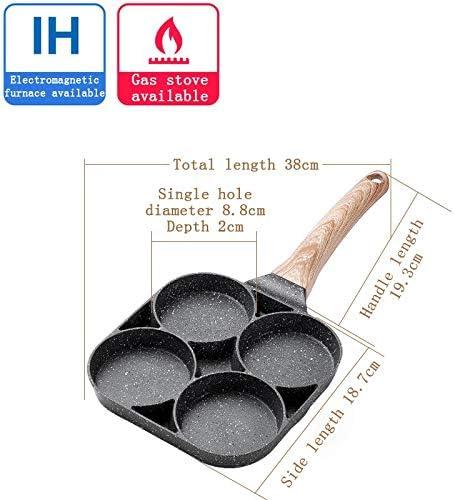 4-Hole Omelet Pan for Burger Eggs Ham PanCake Maker Frying Pans Non-Stick