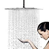 12 Inch Large Square Rain Showerhead, Stainless Steel High Pressure Shower Head with Polish Chrome Finish, Ultra Thin Waterfall Full Body Coverage with Silicone Nozzle Easy to Clean and Install