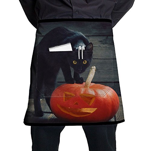 Black Cat Halloween Pumpkin Men And Women Kitchen 3D Apron For Cooking, Baking, Crafting, Gardening, BBQ-Navy & -