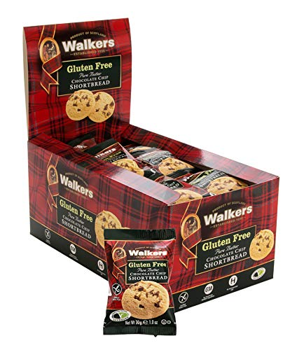Walkers Shortbread Gluten Free Chocolate Chip Snack Packs, 24 Count Pure Butter Gluten Free Shortbread Cookies from the Scottish Highlands, No Artificial Flavors
