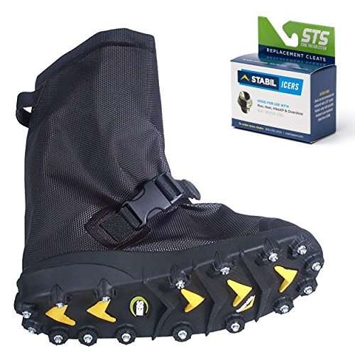 STABILicers Voyager Overshoe with Traction Cleats for Ice & Snow, Fits Over Shoes/Boots, Made in USA, 25 Replacement Cleats Included, Size SM