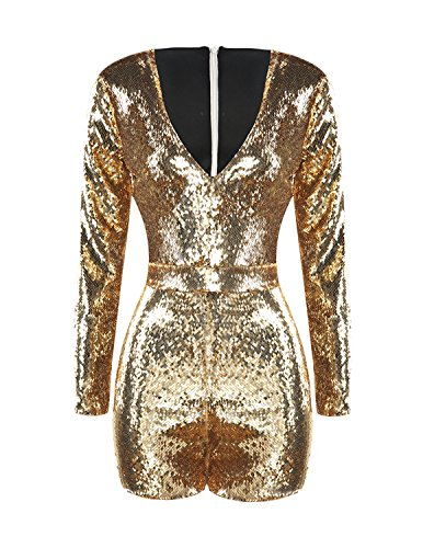 HaoDuoYi Women's Sparkly Sequin V Neck Party Romper Jumpsuit Dress(M,Gold)