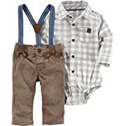 Carter's Baby Boys' 2 Piece Long Sleeve Bodysuit and Suspender Pants Set 9 Months