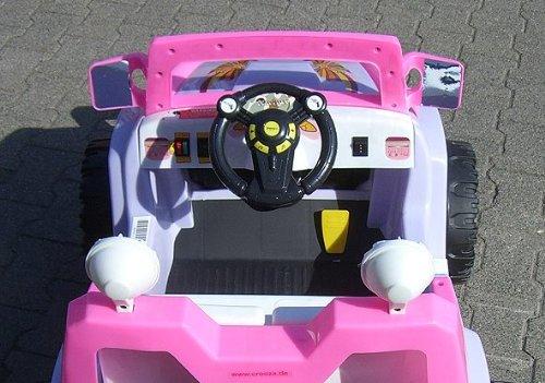 crooza ® JEEP - OffRoad Coche con Motor y Batería de 12V coches para niños **2x MOTORES** rosa