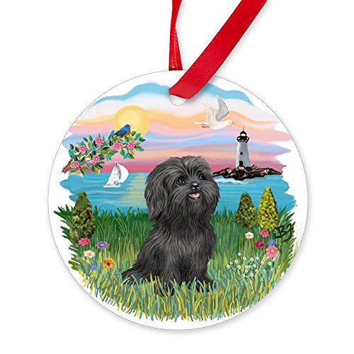 CafePress Lighthouse-Black Shih Tzu.Png Round Christmas -