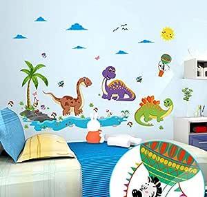 Cartoon Dinosaur Wall Stickers Jungle Animals Dinosaurs Paradise Tree Clouds Decorative Wall Stickers for Kids Room Boys Like-XSQ