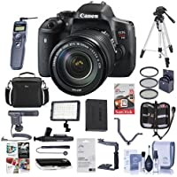 Canon EOS Rebel T6i DSLR with EF-S 18-135mm f/3.5-5.6 IS STM Lens - Bundle with 64GB SDHC Card, Remote Trigger, Camera Case. Tripod, Video Light, Shotgun Mic, Spare Battery, 67MM Filter Kit, And More