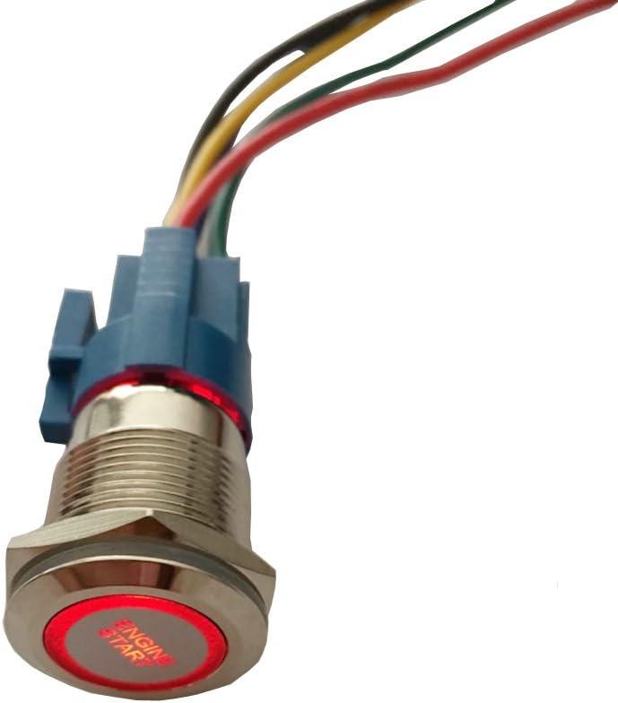Mintice 19mm Rouge LED 12V Bouton Poussoir Voiture m/étal Interrupteur momentan/é Lumi/ère int/érieure Engine Start Prise de Courant
