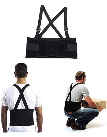 JeVx Faja Lumbar de Trabajo para Hombre para la Espalda REFORZADA DOBLE CIERRE y TIRANTES Cinturon