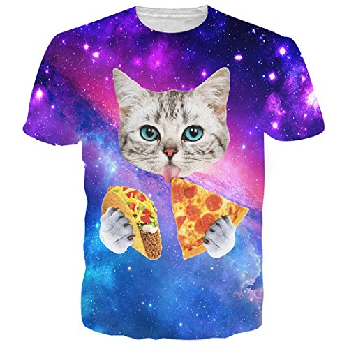 Uideazone Men's 3D Galaxy Cat Eat Pizza Cool T-Shirt Graphics Tees cat41 Asia L= US S
