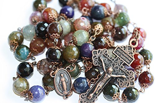 Large Candy Cracked Agate and Copper 10mm 5 Decade Natural Stone Bead Rosary ()