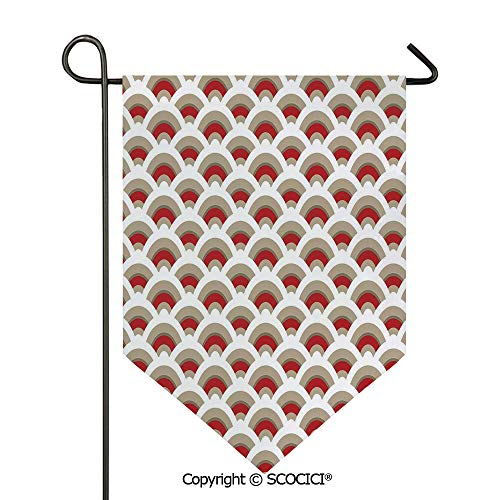 SCOCICI Easy Clean Durable Charming 12x18.5in Garden Flag Oriental Scallop Pattern Inspired by Traditional Moroccan Arabesque Art Design,Red Tan White Double Sided Printed,Flag Pole NOT Included