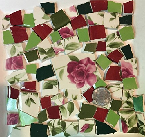 Mosaic Tile Art Supply for Mosaics & Crafts ~ Spring Red Roses & Green Leaves Tiles (T#517) by J Pepper's Art By Hand